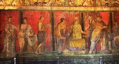 Pompei - Villa dei misteri - Megalografia - Fanciullo legge i testi sacri - Sacerdotessa e