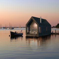 sweet, little floating home at dusk