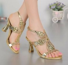 Bridal Sandals, Gold Sandals, Mens Boots Fashion, Fashion Shoes, High Heels Images, Latest Ladies Shoes, Rhinestone Wedding Shoes, Shoe Boots, Shoes Heels