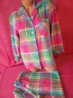 f75dfa05095 Victoria s Secret Sleepwear Plaid Button Down Flannel 2 Pc Pajama Set XS   VictoriasSecret  PajamaSets