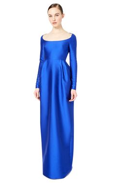 Long Sleeved Gown With Scoop Neck by Valentino for Preorder on Moda Operandi
