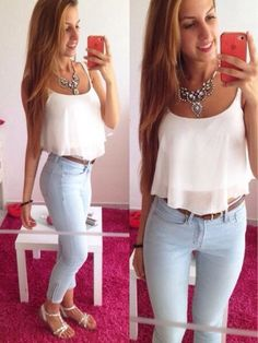 50 Cute Summer Outfits for Your Inspiration - Fazhion Cute Summer Outfits, Spring Outfits, Casual Outfits, Cute Outfits, Summer Clothes, Teen Fashion, Love Fashion, Fashion Outfits, Womens Fashion
