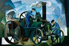 alex campbell(1936- ), steam traction engine, 1991. acrylic on canvas, 60 x 91 cm. llyfrgell genedlaethol cymru / the national library of wales, uk http://www.bbc.co.uk/arts/yourpaintings/paintings/steam-traction-engine-120054