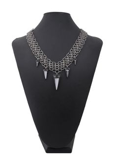 Chainmaille mesh spiked crystal necklace from Couture Armour.