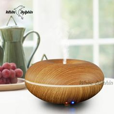 Air Conditioning Appliances Aromatherapy Air Humidifier LED Light Wood Grain Sleep Mist Maker Aroma Essential Oil Diffuser #Affiliate