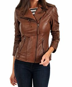 Ladies Leather Jacket Purple Biker Motorcycle Army Style 100/% REAL NAPA 4110