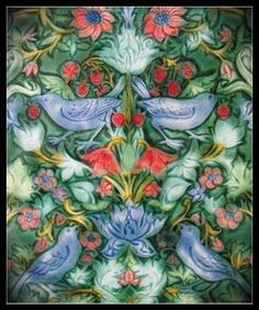 Mary Philpott 10x12 Art Tile. From the Strawberry Thief design by William Morris