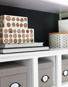 Love these decorative boxes! So perfect for pretty storage! Office Rug, Home Office, Styling Bookshelves, Driven By Decor, Entryway Rug, Wood Planters, Indoor Outdoor Rugs, Other Rooms, Rug Making
