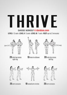 Thrive is a workout designed to help you physically thrive by training your body incrementally. Boxing Training Workout, Gym Workout Tips, Interval Training, Running Workouts, Workout Challenge, Quad Exercises, Lifting Motivation, Fitness Motivation, Darebee