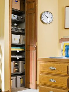"Home Office Closet: Simple Makeover  ""Outfit a small, narrow closet with shelves you can install yourself to give the space an organizational boost."""