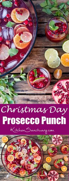 Christmas Day Punch - A lovely fruity punch with prosecco for the grown-ups. A great way to keep your guest's drinks topped up!