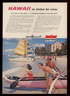 1956 United Airlines Hawaii Waikiki Beach Hotel Photo Prices Vintage Print Ad   eBay