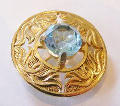 1970's Vintage Gold Plated Swarovski Crystal Brooch, with Aquamarine or Amethyst Crystal by RetroroxJewellery on Etsy