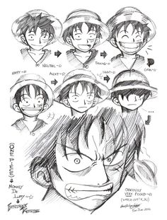 One Piece-Expression of Luffy by ~darkspeeds on deviantART