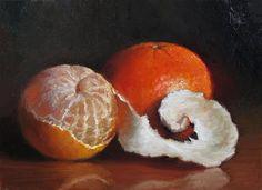 "Daily Paintworks - ""Peeled Clementine and Sunburst Tangerine"" - Original Fine Art for Sale - © Debra Becks Cooper"
