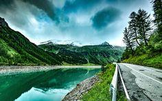 Download imagens rio de montanha, águas calmas, estrada de asfalto, hdr