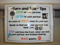 I came across this great blog post about Turning and Talking! Another area my kiddos struggle in. Check out this awesome poster/anchor chart that Mrs. Rios uses with her kiddos.