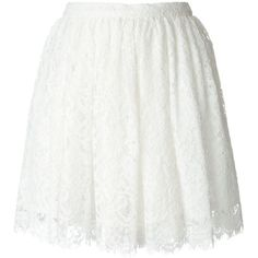 Iro Floral Lace Pleated Skirt ($273) ❤ liked on Polyvore featuring skirts, white, floral lace skirt, flower print skirt, lacy skirt, white knee length skirt and lace skirt
