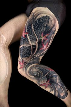 #tatto traditional Japanese koi leg tattoo