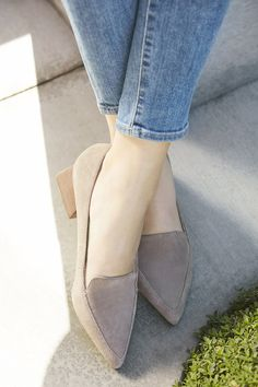 Pointed toe loafers with a flared heel | Sole Society Mavis