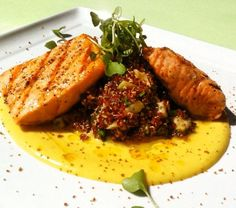 Grilled salmon, Quinoa, Roasted Fennel, Corn & Saffron Purée, Pistachio Dust and Chili Oil at Tender Greens West Hollywood