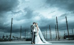 Dramatic bride and groom portrait at the Titanic Belfast, Northern Ireland. Grand Staircase, Atrium, Belfast, Northern Ireland, Titanic, Celebrity Weddings, Bride Groom, Cathedral, Portrait