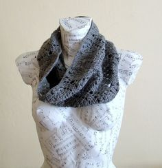 Handmade Crochet Gray Cowl - Cocoon Winter Accessories Infinity Scarf