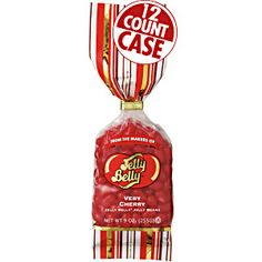 12-count case of Jelly Belly Very Cherry jelly beans in 9 oz bags. Perfect present for candy lovers. Convenient size bag! Fruity