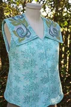 Voile vest, lined with Quilter's Dream cotton batting, quilted on Baby Lock's Sashiko machine with a Sassy Fill embellished collar. See the Sassy Fill video at A Bit of Stitch!