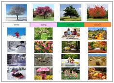 Seasonal Time Line - sort seasonal images in a seasonal timeline. This material includes 16 photographic sorting cards and a control chart. A fun preschool printable. Montessori Education, Montessori Materials, Montessori Activities, Kids Education, Seasons Chart, Four Seasons, Preschool Set Up, Preschool Ideas, Teaching Ideas