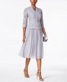 26c9d7dc6683 Alex Evenings Lace Three-Quarter-Sleeve Dress & Reviews - Dresses - Women -  Macy's