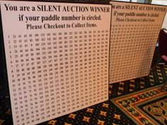 Silent Auction Tip - Circle the winning bidders paddle numbers on a big display board. More silent auction ideas: www.pinterest.com/fundraiserhelp/silent-auction-ideas/