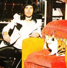 Freddie Mercury and cat. I LOVE MEN WHO LOVES CATS & NOT AFRAID TO SHOW IT!!!!