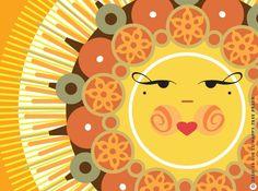 """Items similar to Sun Art Print, Sun Illustration, Yellow Sun Print, """"Autumn Sun"""" on Etsy Sun Moon Stars, Sun And Stars, Art Soleil, Good Day Sunshine, Happy Sunshine, Art Et Illustration, Illustration Pictures, Graphic Illustrations, Sun Designs"""