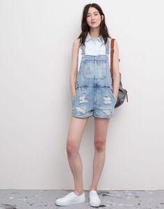 Pull&Bear - woman - dungarees and jumpsuits - ripped denim playsuit - blue - 05637318-I2015