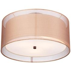 "Double Drum 18"" Wide Bronze Ceiling Light - #2V358 