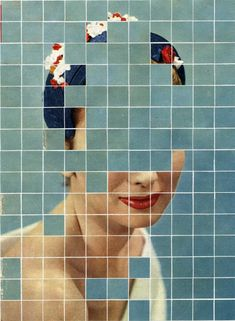 For the ongoing series 'There Must Be More To Life Than This', Canadian artist Anthony Gerace creates mysterious collages by combining vintage portraits with colorful tiles that fragment. Photomontage, Bd Design, Art Du Collage, Poster Collage, Face Collage, Art Collages, Collage Design, Painting Collage, Plakat Design