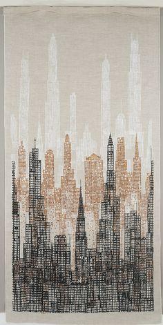 Textile, Skyline, 1958 Textile with a single large print of a receding vista of skyscrapers in textured black, brown and white on an unbleached linen ground. Arte Gcse, Gcse Art, Abstract Canvas, Oil Painting On Canvas, City Painting, Skyline Painting, Abstract City, Cityscape Art, Skyline Art