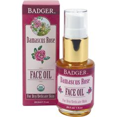USDA Certified Organic Damascus Rose Face Oil by Badger - Moisturize & Restore. This light and super-absorbent face serum will make you feel beautiful and radiant while reducing the appearance of fine lines and wrinkles.