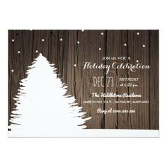 Rustic Wood Christmas Tree | Winter Holiday Card - christmas cards merry xmas family party holidays cyo diy greeting card