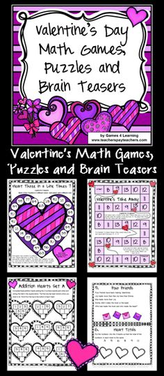 Valentine's Day Math Games, Puzzles and Brain Teasers by Games 4 Learning $