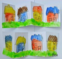 kreatywne prace plastyczne: Kolorowe domki, colorful cottages