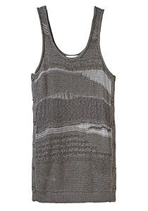 Hand-Knit Drop Stitch Dress by 3.1 Phillip Lim. Mini tank dress knit in various stitches with subtle metallic accents.    U-neck / Sleeveless / Dropped armholes / Mini length / Boxy fit / Buttons down lengths of side seams / Different stitches are knit, pearl & drop / Body of dress is knit in different greys / Rolled edges at neckline and armholes / Ribbed banding at hem / Semi-sheer / Color: Dusk Grey