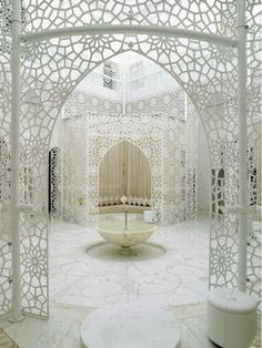 #Moroccan #architecture can be intricate works of art. This chamber in a Marrakech hotel looks like it was created out of lace.