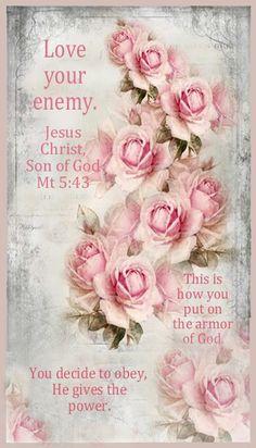 """""""Love your enemy"""" Jesus Christ, Son of God, Mt 5:43 Vintage Pink, Vintage Tags, Vintage Labels, Vintage Ephemera, Vintage Paper, Vintage Postcards, Vintage Flowers, Vintage Style, Decoupage Vintage"""