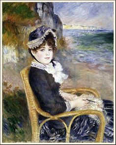 Renoir Painting called By the sea shore. Nice to use in a French Country room.