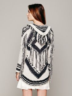 multicolor sweaters cardigan | Free People Geo Fringe Hooded Cardigan in Multicolor (Black / White ...