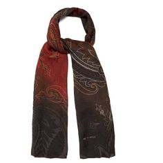 Etro Paisley-jacquard wool and silk-blend scarf (6,530 MXN) ❤ liked on Polyvore featuring men's fashion, men's accessories, men's scarves, brown multi, mens wool scarves, mens paisley scarves and mens woolen scarves