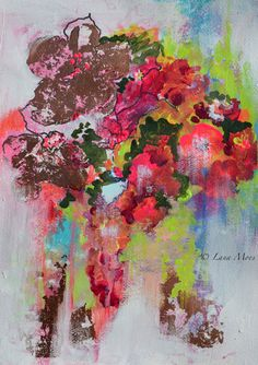 Shabby Chic  Abstract Acrylic Flowers Painting  by lanasfineart, $55.00
