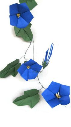 Paper Flower - Origami Morning Glory - Decorate your home or office with these bold, beautiful flowers, or give one as a gift.